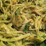 Garlic Chicken over Linguine with Basil Pesto and Pine Nuts (Photo Credit: Adroit Ideals)