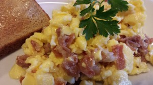 Crispy Prosciutto and Melty Brie enhance your Scrambled Egg breakfast! (Photo Credit: Adroit Ideals)