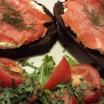 Open Face Smoked Salmon Sandwiches served with a Tomato Arugula Salad with Tarragon Balsamic Dressing (Photo Credit: Adroit Ideals)