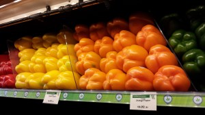 Whole Foods Market's colorful bell pepper selection (Photo Credit: Adroit Ideals)