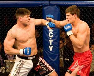 Brian Stann, left, is seen during a 2007 WEC bout with Steve Cantwell. (WEC via Versus)