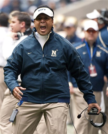 Navy head coach Ken Niumatalolo reacts to a call during the first quarter of the Texas Bowl. Navy's 35-13 win gave Niumatalolo his first victory in a bowl game and made him just the third coach in Navy history to win 10 games in a season. (AP Photo/Dave Einsel)