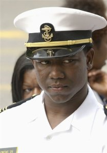 Former Naval Academy quarterback Lamar S. Owens Jr., is seen during a news conference after his aquittal of rape charges in July 2006. (AP Photo/Leslie E. Kossoff)