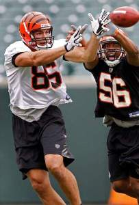 Cadet 1st Class Alejandro Villanueva, left, battles fourth-round draft pick Roddrick Muckelroy for a pass at Bengals rookie mini-camp on May 1 . (The Enquirer/Jeff Swinger)