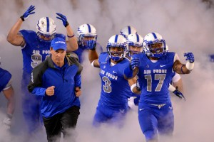 Air Force Academy head coach Troy Calhoun remains in the middle of the pack when it comes to academy football coach salaries. (Air Force photo by Mike Kaplan)