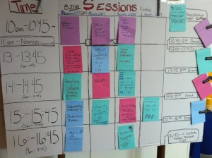 Session board for SpaceUp DC on Day 1. Credit: Cariann Higgenbotham (@Cariann)
