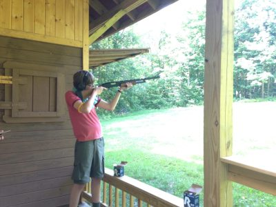 noah preparing to shoot skeet