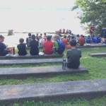 First Year Campers gather at the Amphitheater before heading out to Roger Sherman.