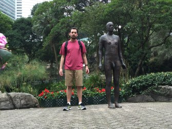 Me and a statue in Hong Kong Park