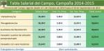 Tabla Salarial del Campo en Jaén 2014-2015