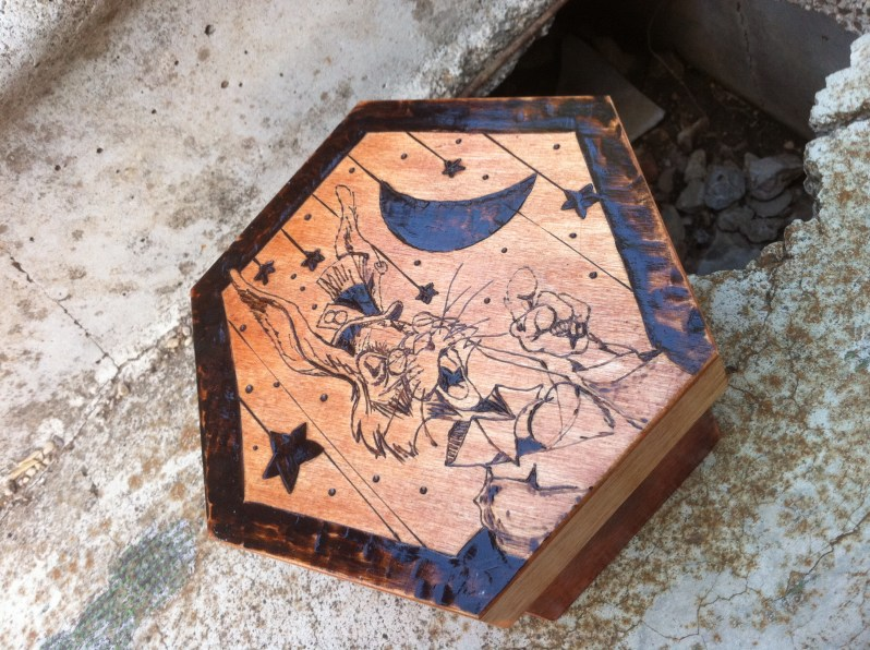 Pyrography Box Mad Hare