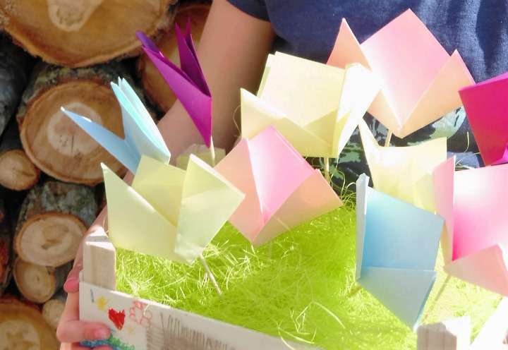Display Of Colourful Folded Paper Flowers