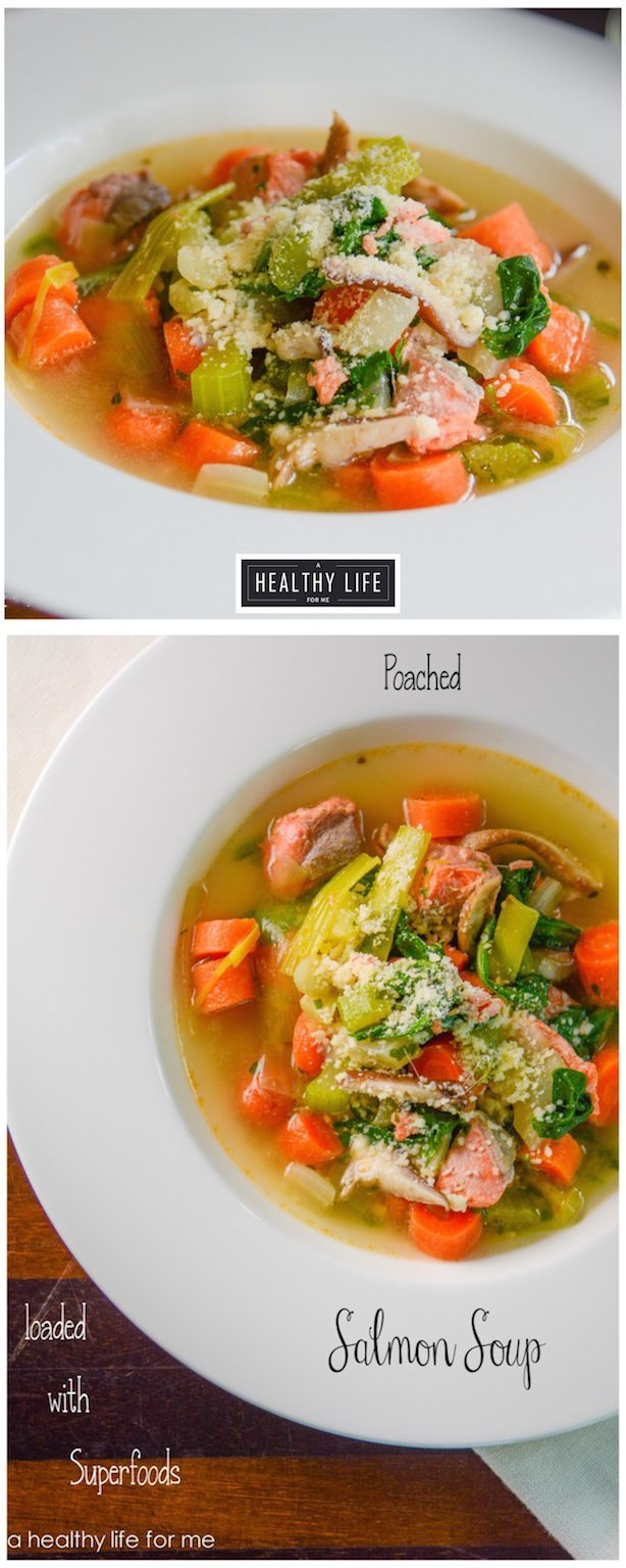 Poached Salmon Soup Recipe gluten free paleo dairy free | ahealthylifeforme.com