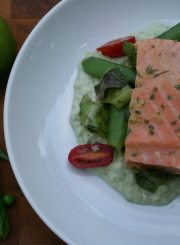Poached Salmon with Avocado Puree and Pea Salad at www.ahealthylifeforme.com