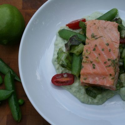 Poached Salmon with Avocado Puree and Pea Salad