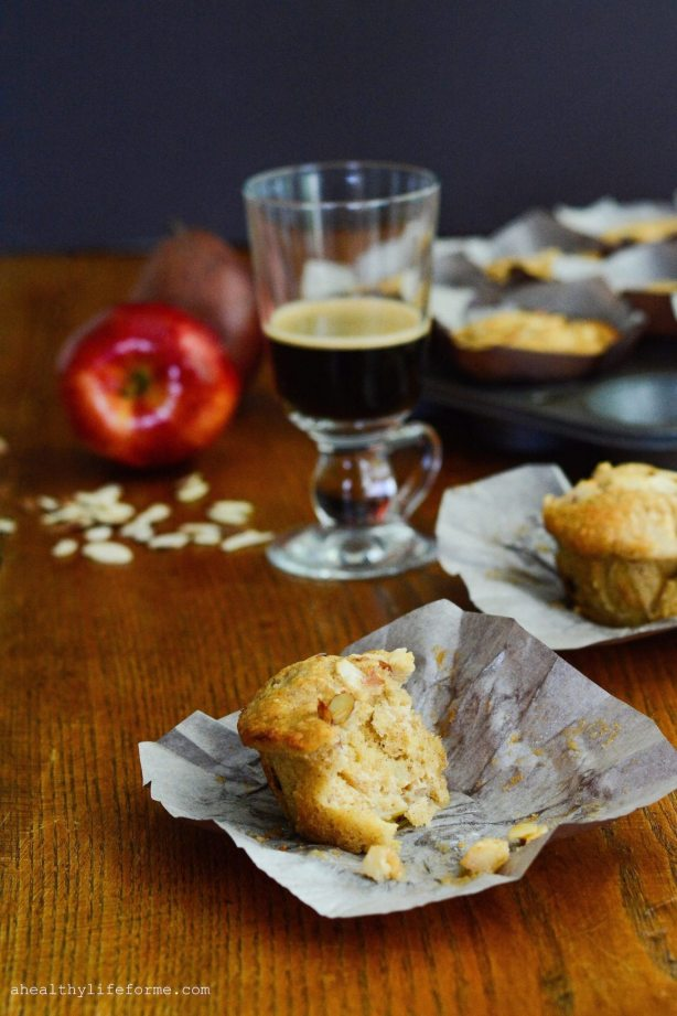 Apple Cherry Pear Almond Breakfast Muffin | ahealthylifeforme.com
