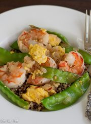 Sugar Pea Shrimp and Quinoa Stir Fry