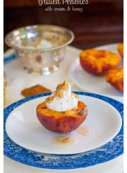 Grilled Peaches with Cream and Honey | ahealthylifeforme.com