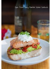 Open Faced Honey Bourbon Salmon Sandwich