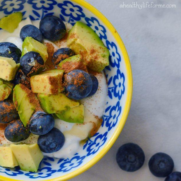 Blueberry Avocado Honey and Cinnamon Superfood Parfait