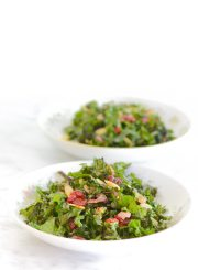 Kale Salad with Warm Cherry Almond Vinaigrette