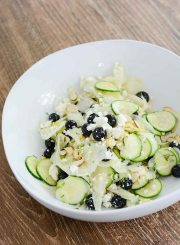 Shaved Fennel Zucchini Salad topped with Blueberries Feta Almonds and Lemon Vinaigrette | ahealthylifeforme.com