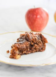 Gluten Free Apple Pecan Cake is ooey gooey deliciousness. Loaded with fresh apples, pecans and sweetened with pure maple syrup | ahealthylifeforme.com