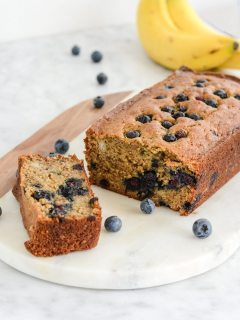 Gluten Free Banana Blueberry Bread {Paleo + Vegan}