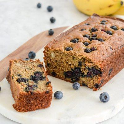 Gluten Free Banana Blueberry Bread {Paleo + Vegan}