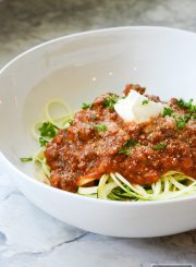 Zucchini Noodles Meat Tomato Sauce is a fun delicious way to enjoy summer zucchini. Skip the noodles, carbohydrates, gluten and enjoy this healthy, and gluten free recipe | ahealthylifeforme.com