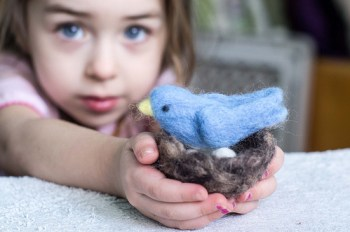 Willa holding the little blue bird