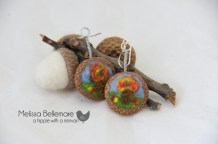 Fall scenery Earrings (Needle Felted in Acorn top)