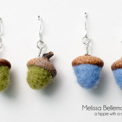 Needle Felted Acorn earrings