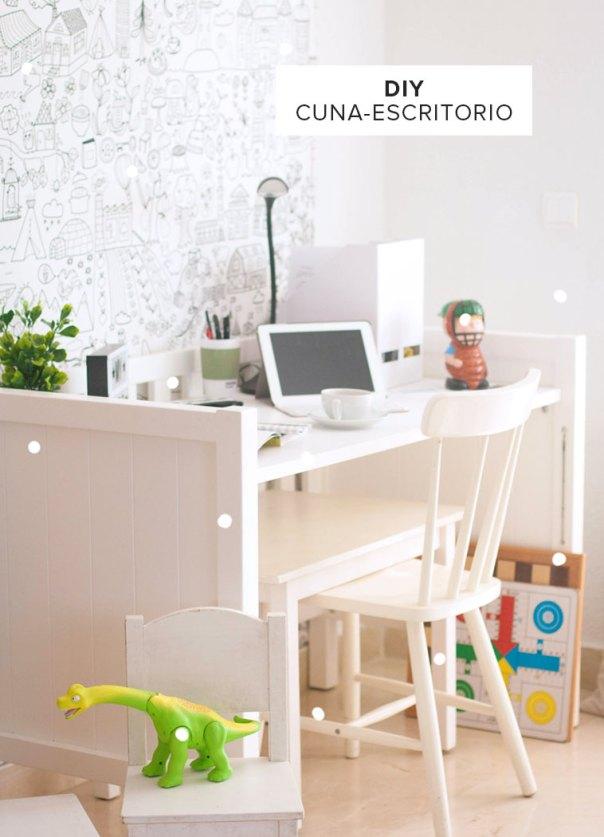 convertir una cuna en escritorio