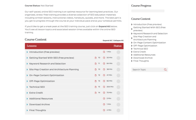 Online SEO Training Course Structure Content