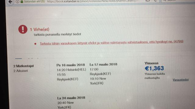 Iceland Air virheilmoitus