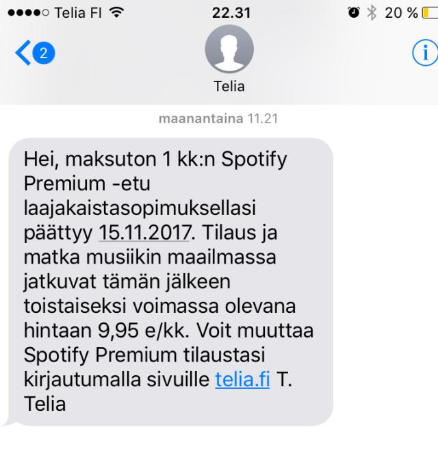 Soneran Spotify kampanja huijaustako