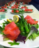 Smoked Salmon Wrapped Asparagus with Crème Fraiche, for one visiting contingent of over 150 passengers.