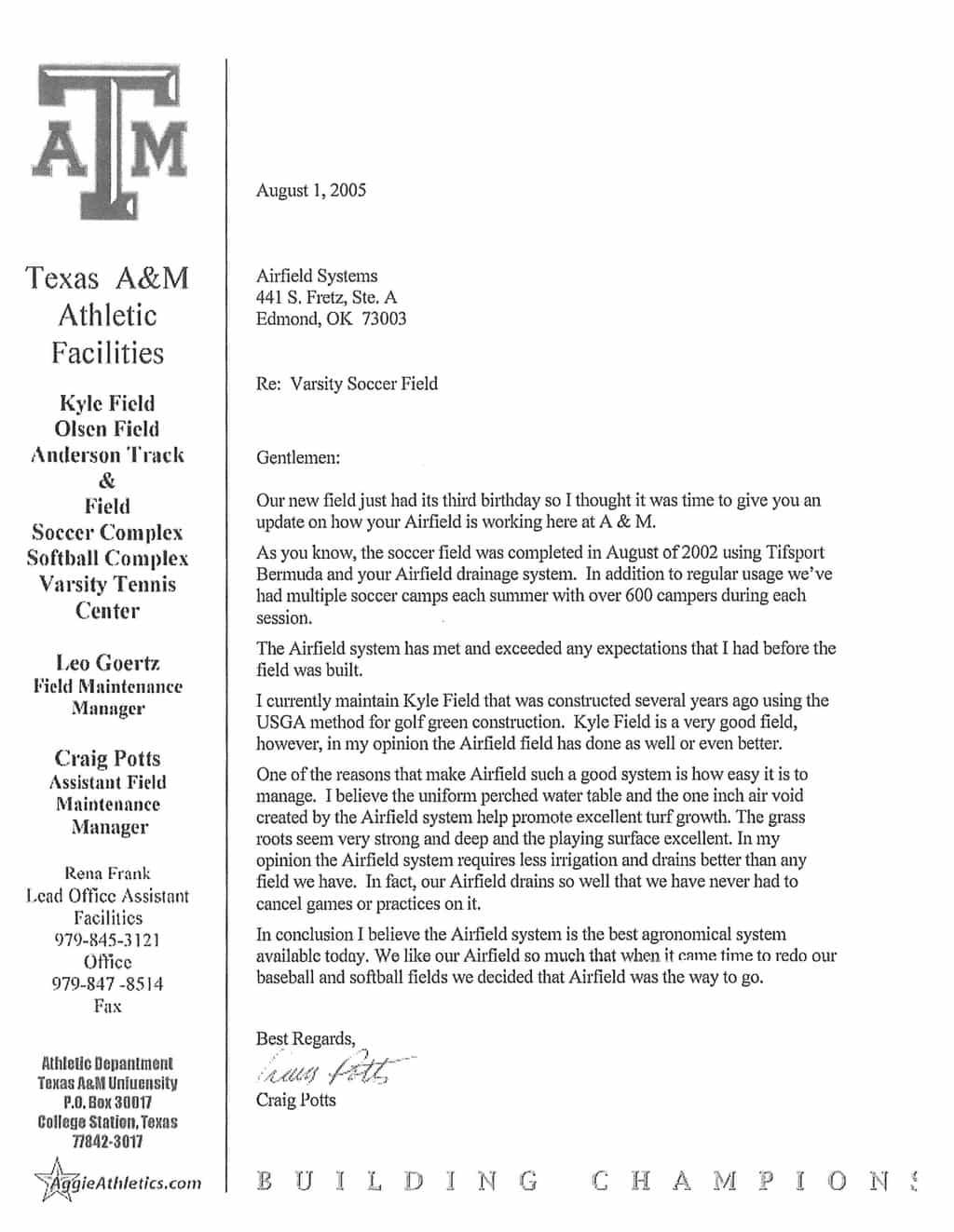 Craig Potts Texas A&M Letter