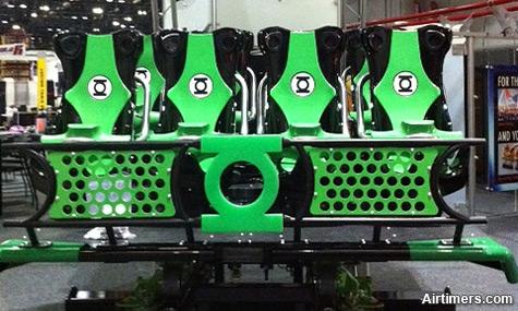SS El Loco Green Lantern Coaster Train Green Lantern Coaster   Neue S&S El Loco Züge auf der IAAPA enthüllt!