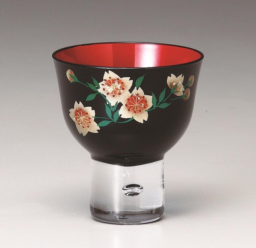 会津ガラス蒔絵 ぐい呑 山桜