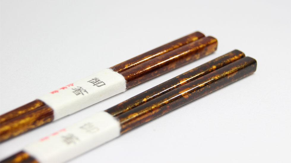 会津塗銀溜漆箸