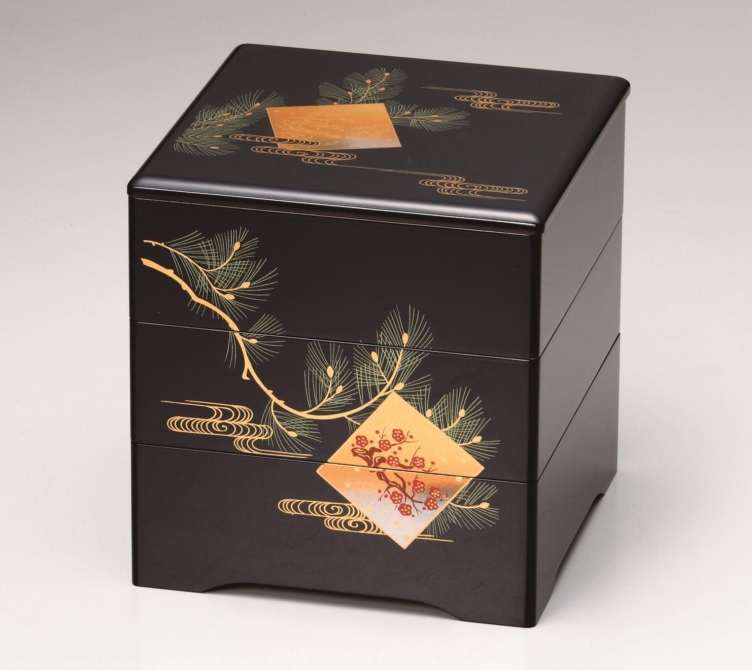 会津塗三段重箱 色紙松竹梅