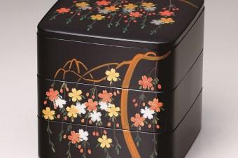 会津塗三段重箱 しだれ桜