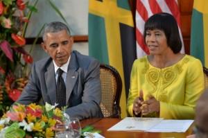 President Obama and Prime Minister Portia Simpson Miller