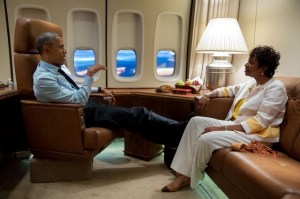 President Obama & Congress woman Yvette Clark on Air Force One