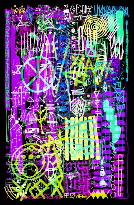 astro tension art madison wi artist illustration purple pink green lime abstract aliens crop circles
