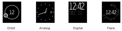 These are the choices of clock faces on the Fitbit Surge