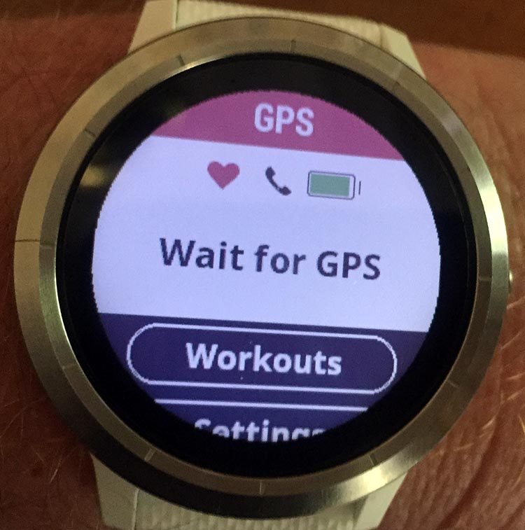 How to Use Your Garmin Vivoactive 3 to record an activity - Your Garmin Vivoactive 3 will ask you to wait until it finds the GPS signal