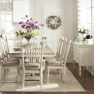TRIBECCA HOME McKay Country Antique White Pedestal Extending Dining Set